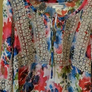 Sundance silk floral embroidered poets top